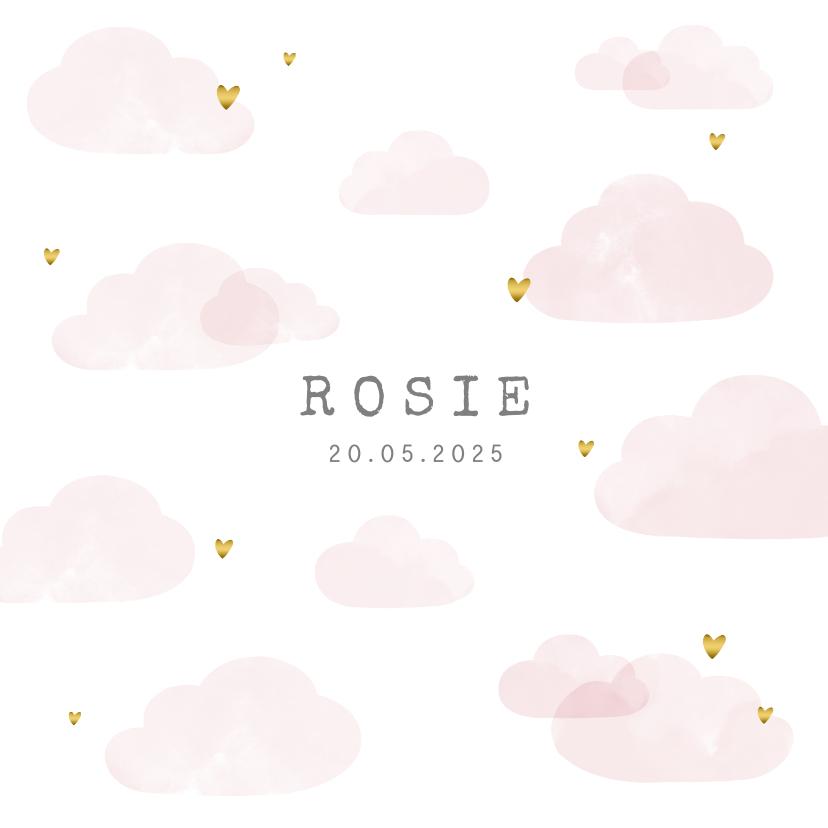 Geboortekaartjes - Geboortekaartje roze wolken hartjes goudlook