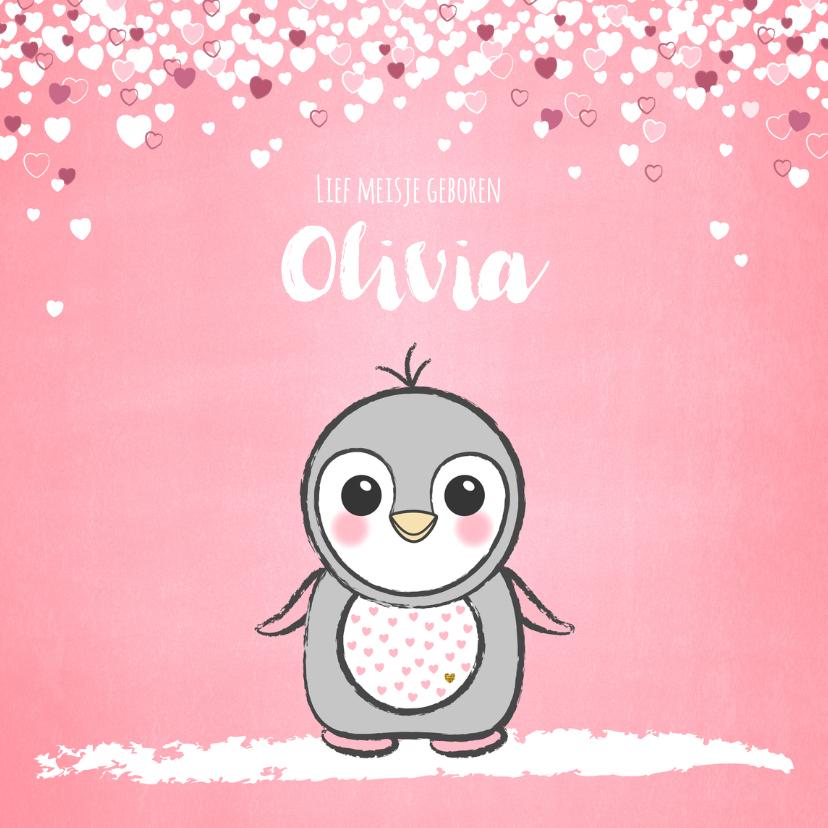Geboortekaartjes - Geboortekaartje schattig roze kaartje met lieve baby pinguïn