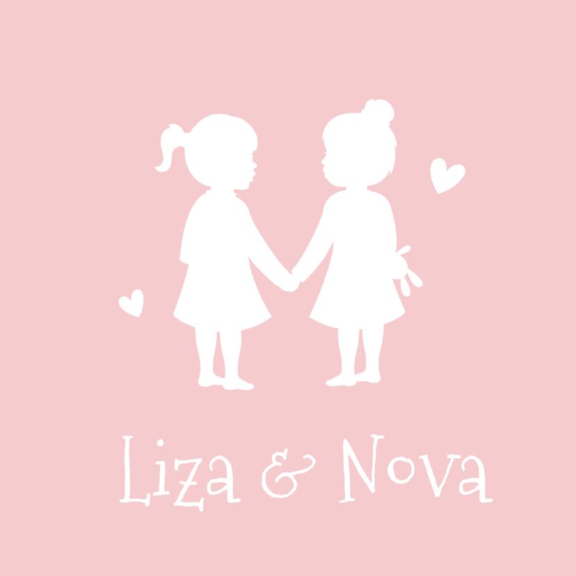 Geboortekaartjes - Geboortekaartje silhouet 2 meisjes tweeling kleur aanpasbaar