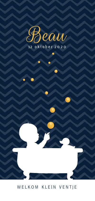 Geboortekaartjes - Geboortekaartje silhouet badje