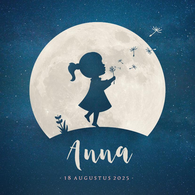 Geboortekaartjes - Geboortekaartje silhouet meisje paardenbloem en maan