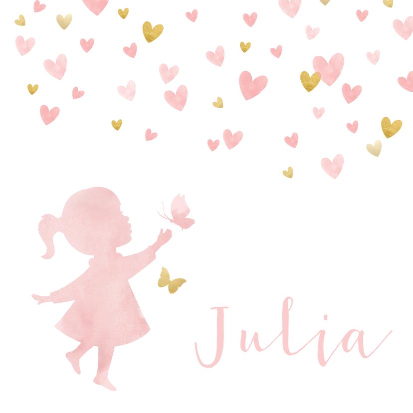 Geboortekaartjes - Geboortekaartje silhouet met vlinders waterverf roze en goud