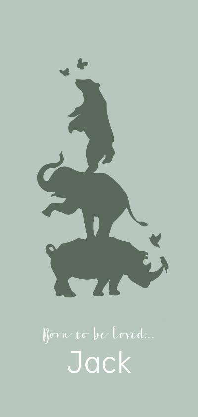 Geboortekaartjes - Geboortekaartje silhouet neushoorn, olifant en beer