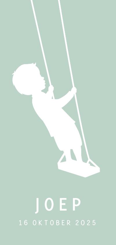 Geboortekaartjes - Geboortekaartje silhouet van een jongen staand op schommel