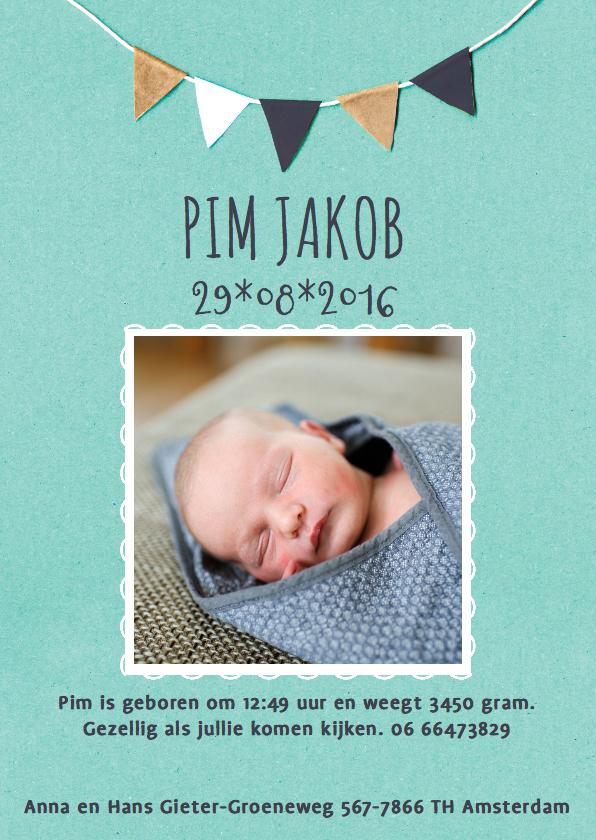 Geboortekaartjes - Geboortekaart fotokaart vlaggetjes jongen