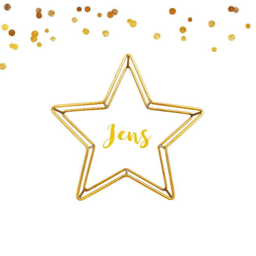 Geboortekaartjes - Geboortekaartje ster gouddraad jongen of meisje
