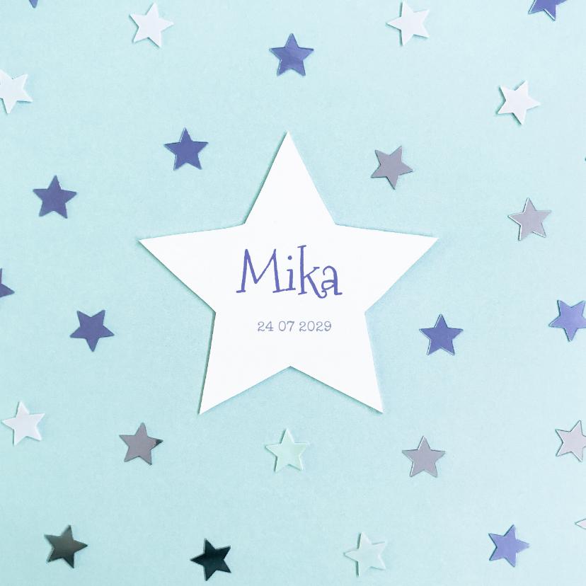 Geboortekaartjes - Geboortekaartje ster hip blauw