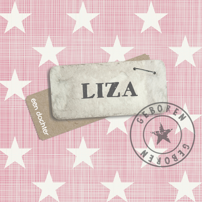 Geboortekaartjes - Geboortekaartje ster roze Liza