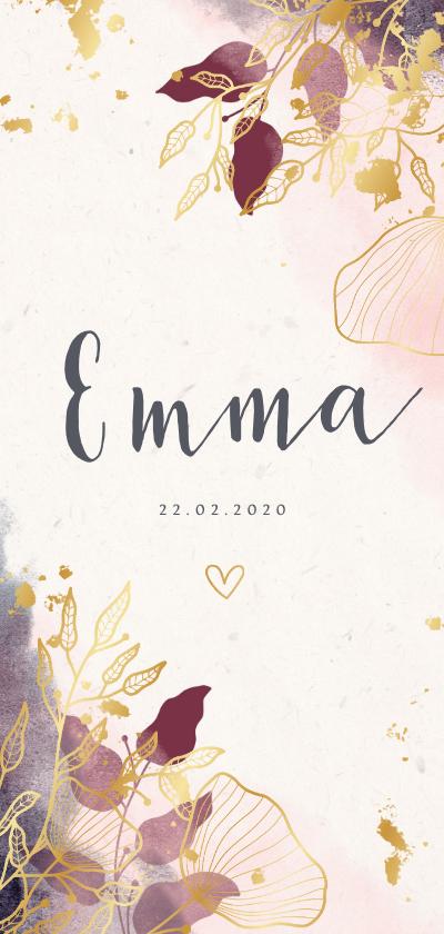 Geboortekaartjes - Geboortekaartje stijlvol met waterverf en gouden bloemen