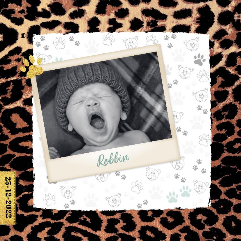 Geboortekaartjes - Geboortekaartje stoer en lief met panterprint en foto