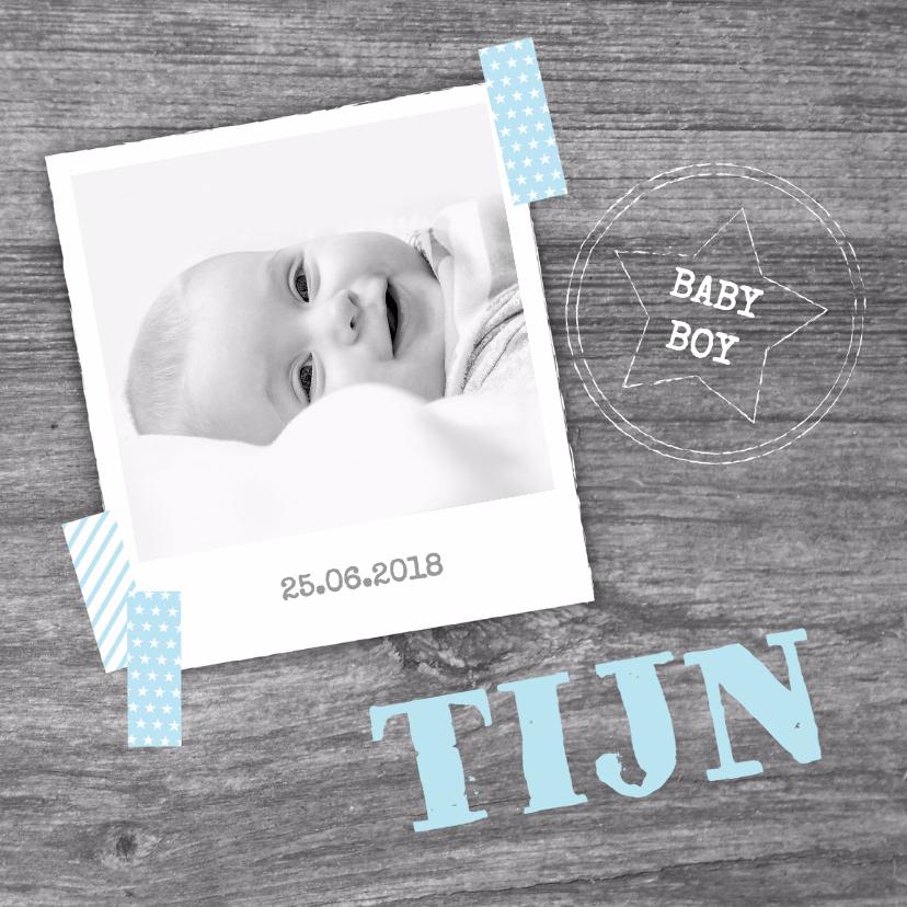 Geboortekaartjes - Geboortekaartje stoer foto boy