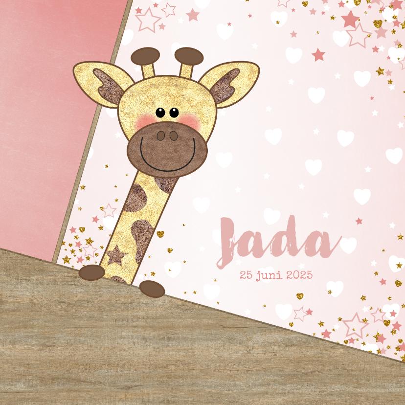 Geboortekaartjes - Geboortekaartje stoer kaartje met  lief girafje en hartjes