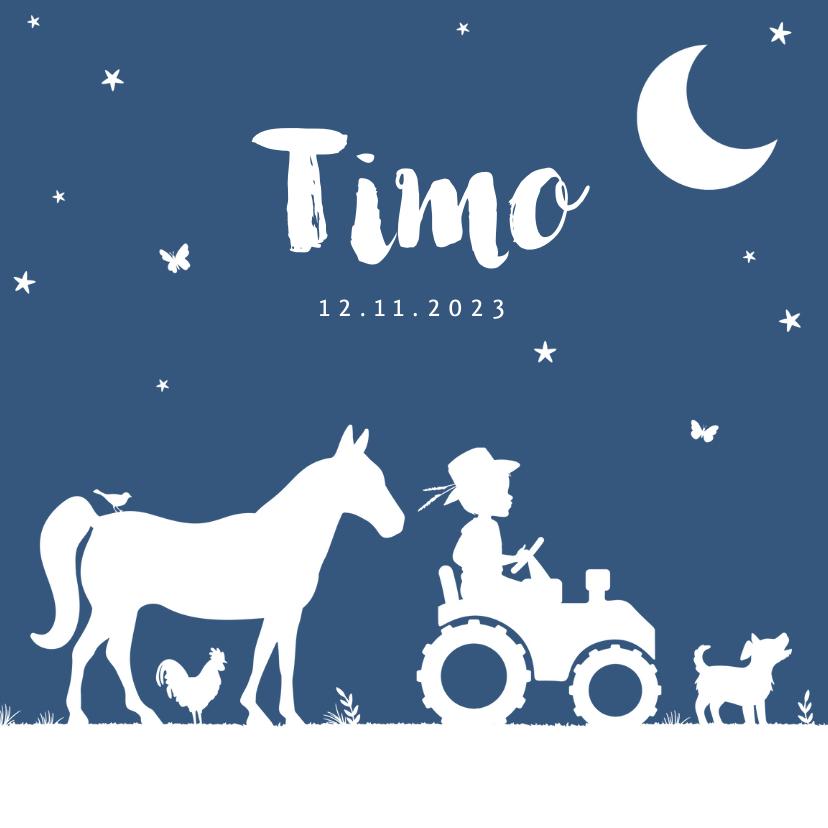 Geboortekaartjes - Geboortekaartje tractor blauw maan jongen dieren boerderij