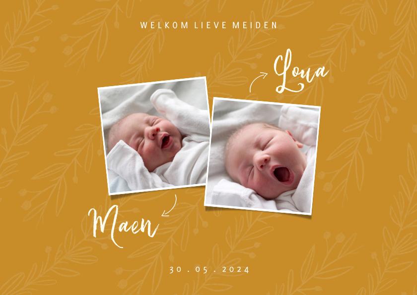 Geboortekaartjes - Geboortekaartje trendy oker tweeling met foto's en takjes