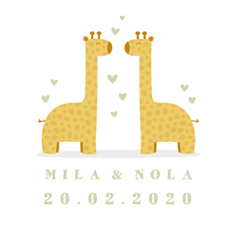 Geboortekaartjes - Geboortekaartje twee giraffes met hartjes
