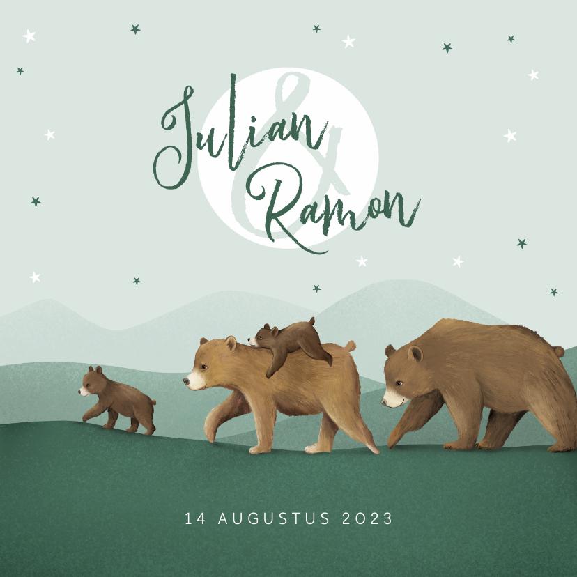 Geboortekaartjes - Geboortekaartje tweeling dieren beren familie sterren