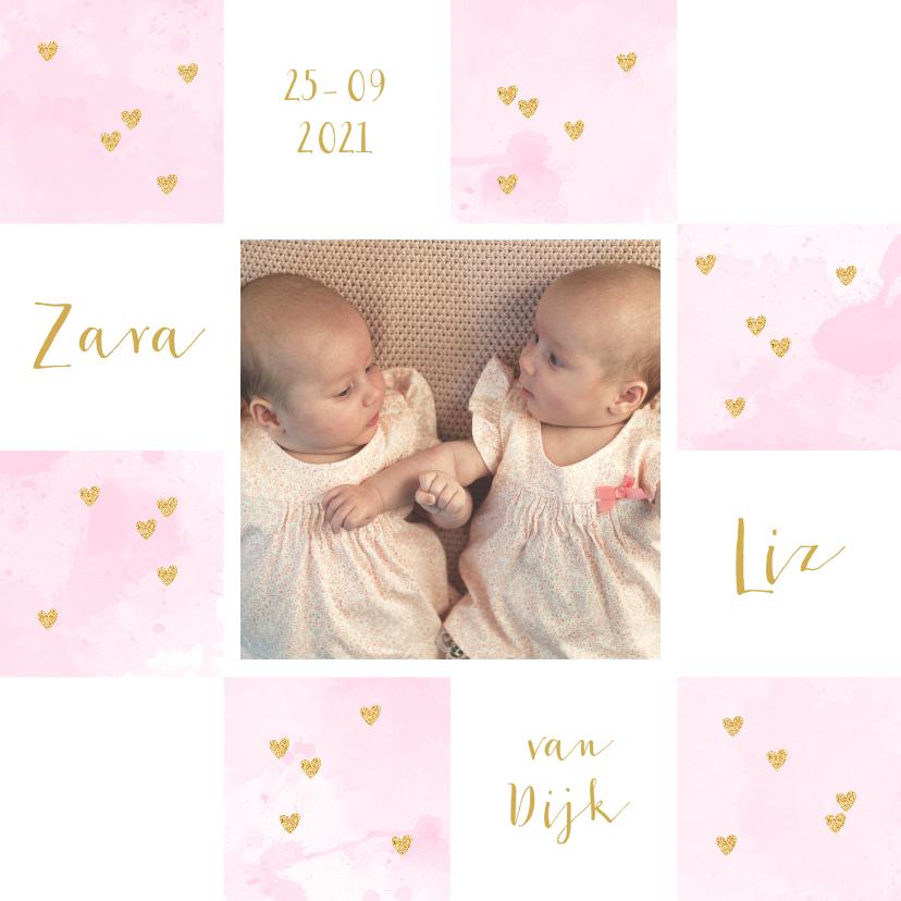 Geboortekaartjes - Geboortekaartje tweeling foto aquarel hartjes roze