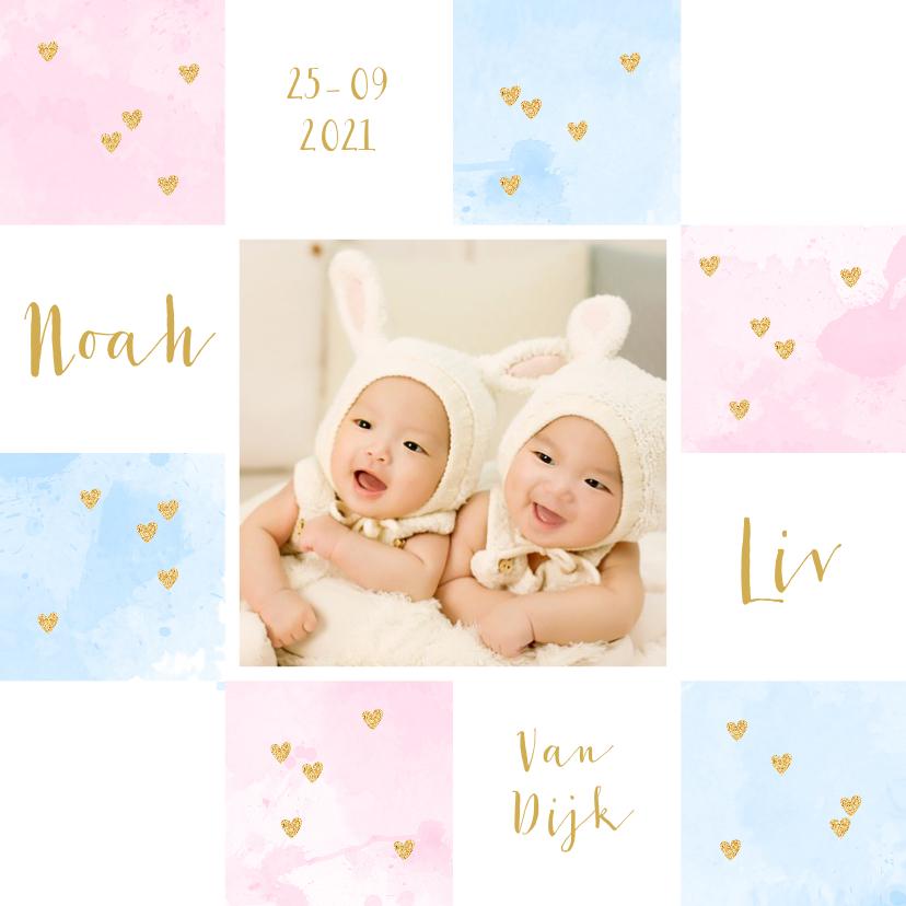 Geboortekaartjes - Geboortekaartje tweeling foto aquarel vakjes roze en blauw