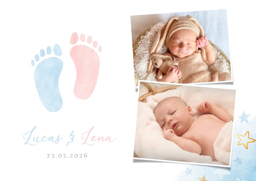 Geboortekaartjes - Geboortekaartje tweeling jongen meisje voetjes en foto's