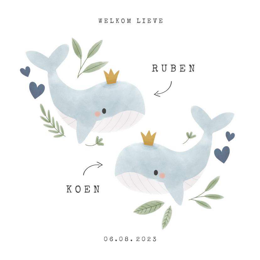 Geboortekaartjes - Geboortekaartje tweeling jongen walvisjes plantjes hartjes