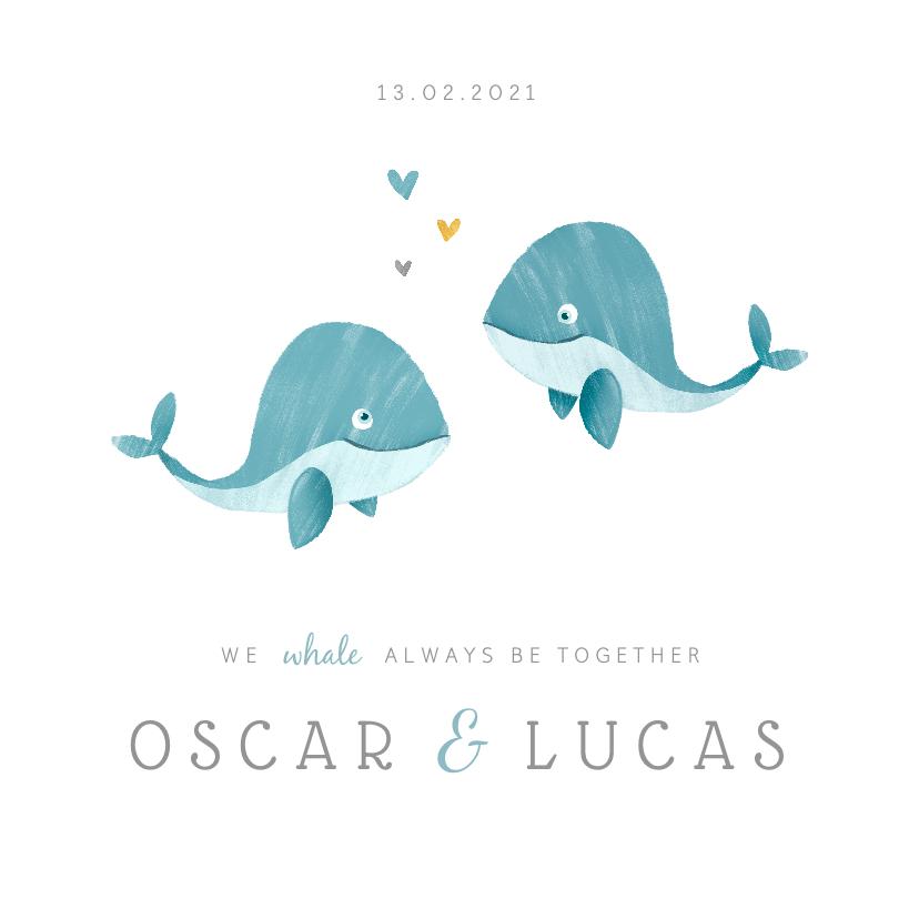 Geboortekaartjes - Geboortekaartje tweeling jongens lief walvisjes