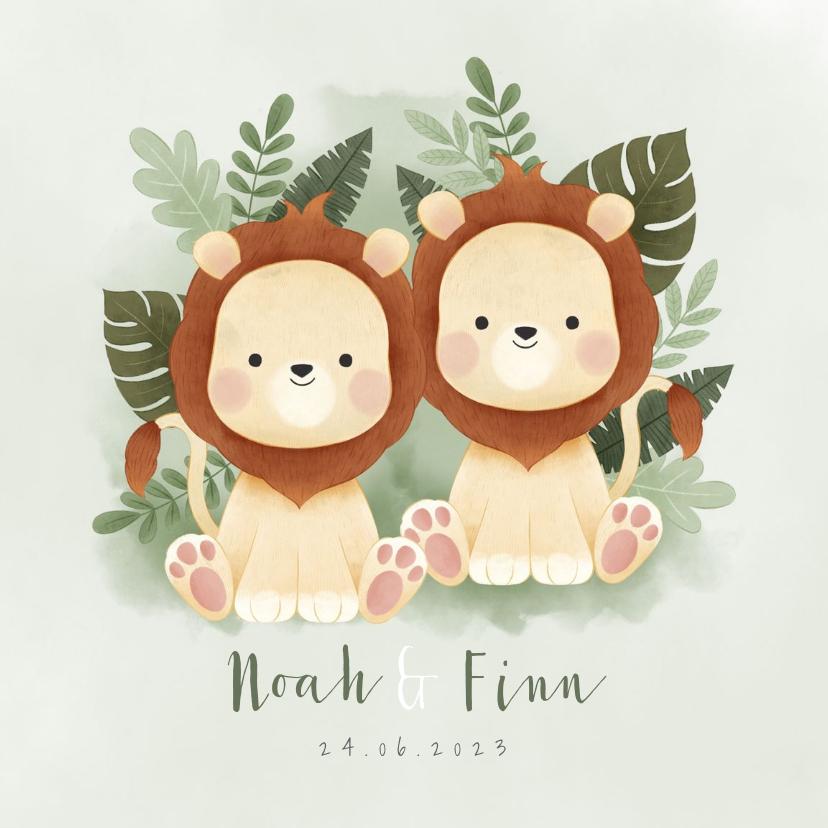 Geboortekaartjes - Geboortekaartje tweeling jongetje leeuwtjes jungleblad