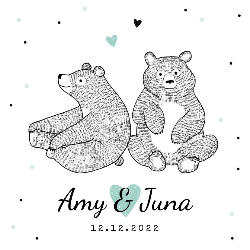 Geboortekaartjes - Geboortekaartje tweeling lief met beertjes en hartjes