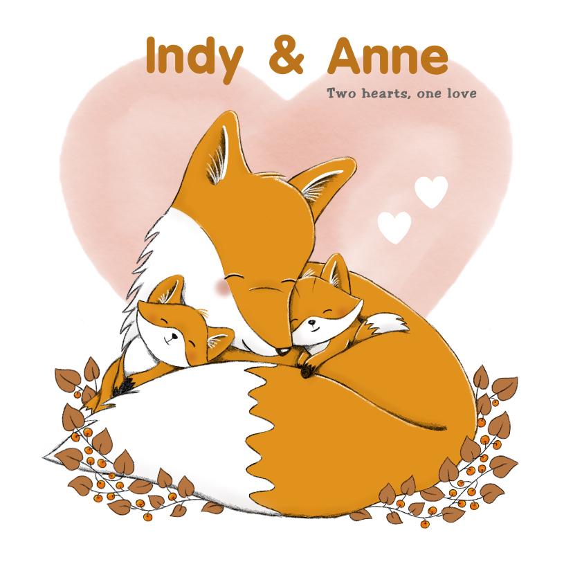 Geboortekaartjes - Geboortekaartje tweeling meisjes met vos en watercolour hart