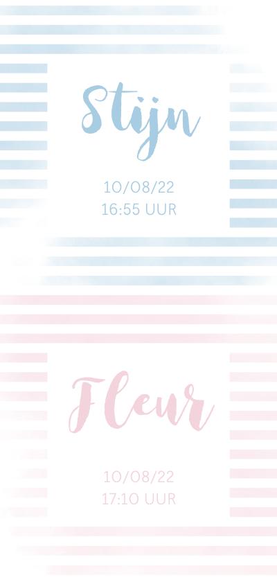 Geboortekaartjes - Geboortekaartje tweeling met strepen in roze/blauw