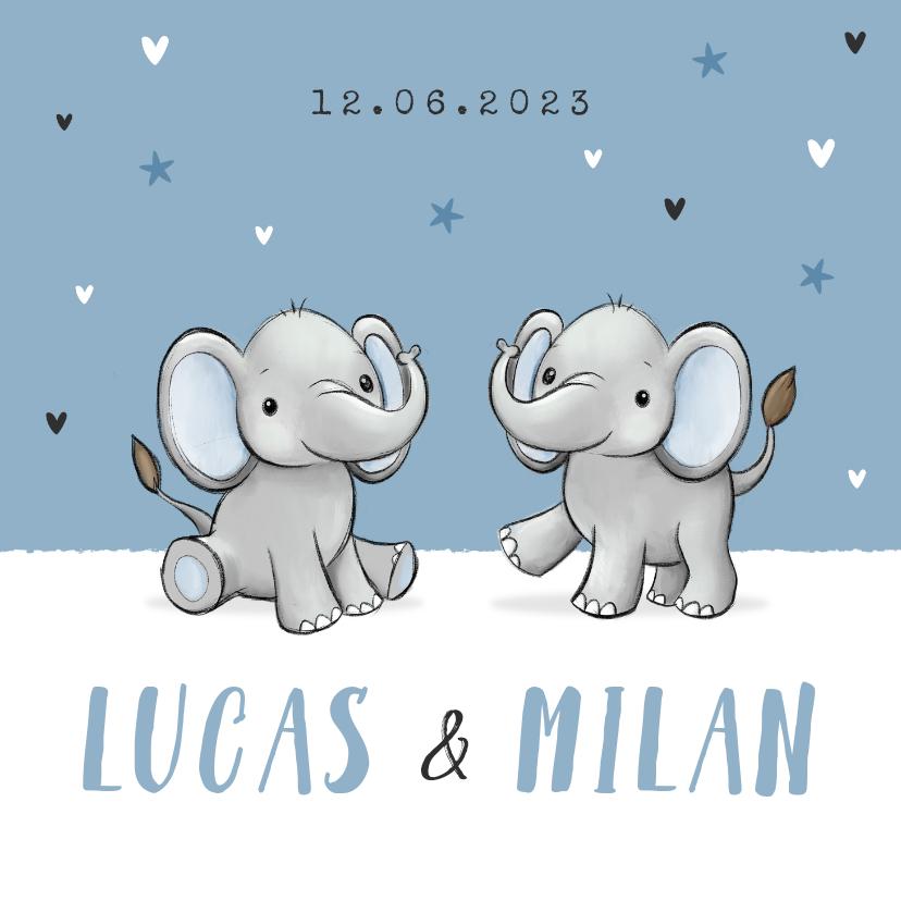 Geboortekaartjes - Geboortekaartje tweeling olifantjes blauw jongen sterren