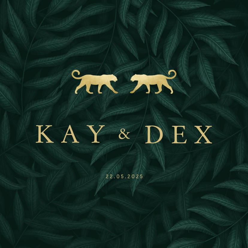Geboortekaartjes - Geboortekaartje tweeling panters goud met jungle bladeren
