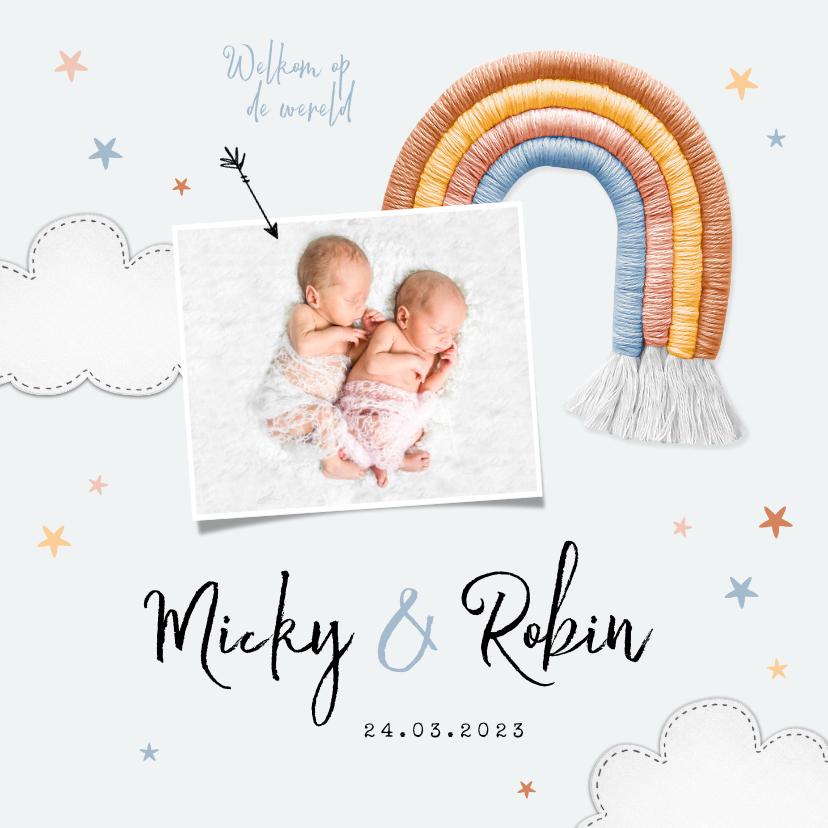 Geboortekaartjes - Geboortekaartje tweeling regenboog stof sterren wolken