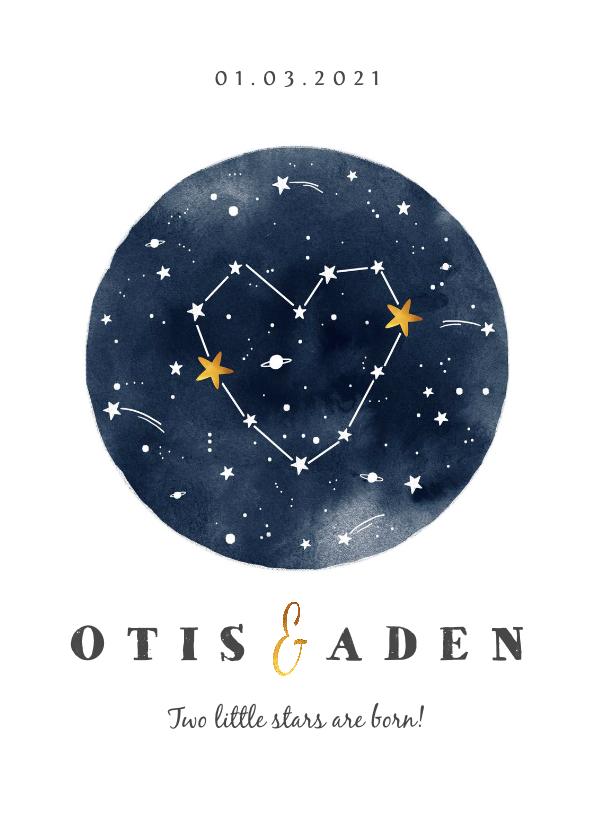 Geboortekaartjes - Geboortekaartje tweeling universum met sterren