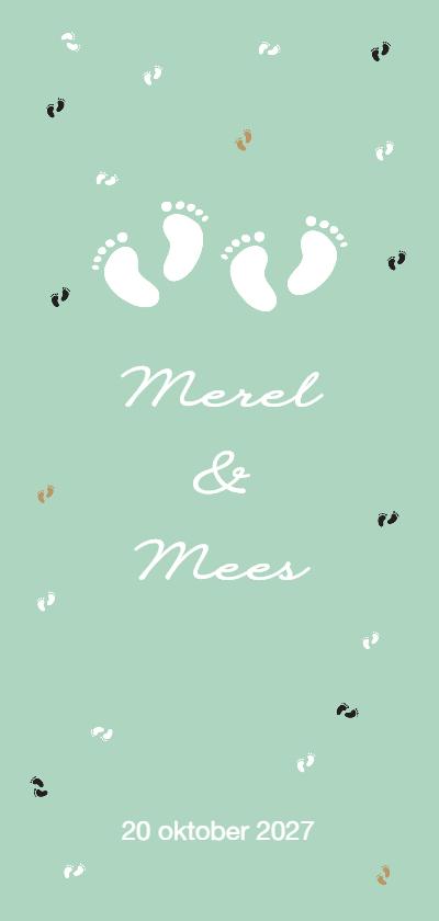 Geboortekaartjes - Geboortekaartje tweeling voetjes