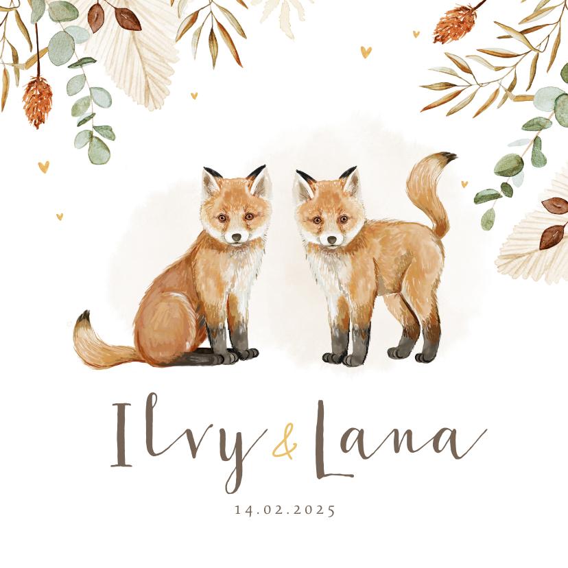 Geboortekaartjes - Geboortekaartje tweeling vosjes hartjes droogbloemen goud