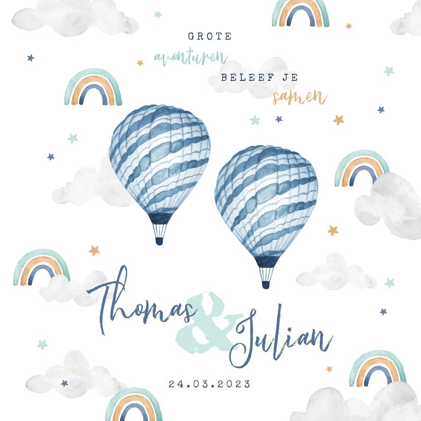 Geboortekaartjes - Geboortekaartje tweeling wolkje luchtballon regenboog jongen