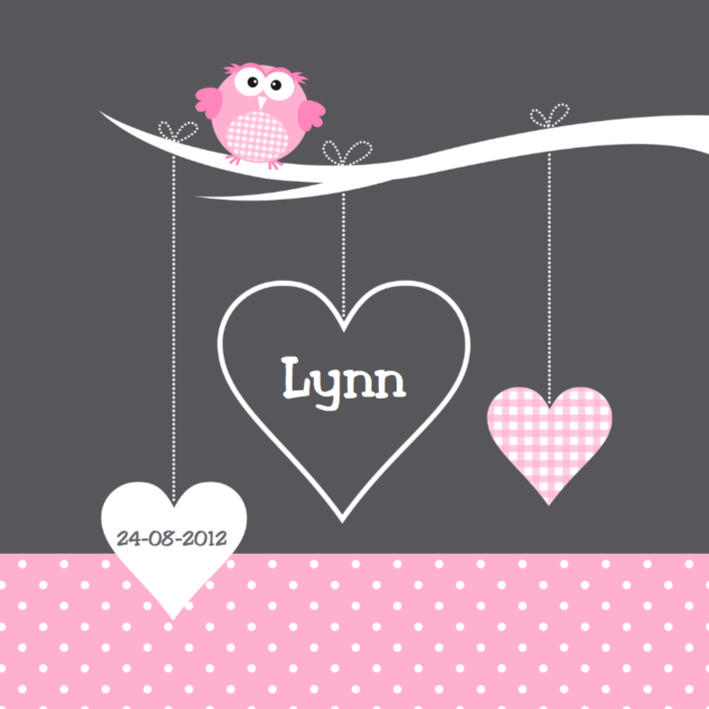 Geboortekaartjes - Geboortekaartje uiltje hartjes meisje