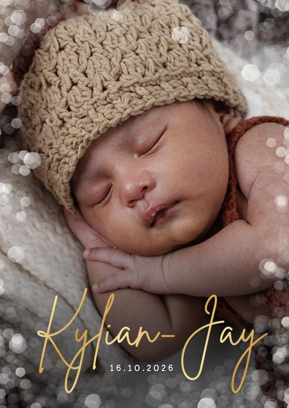 Geboortekaartjes - Geboortekaartje uniseks met grote foto en confetti kader