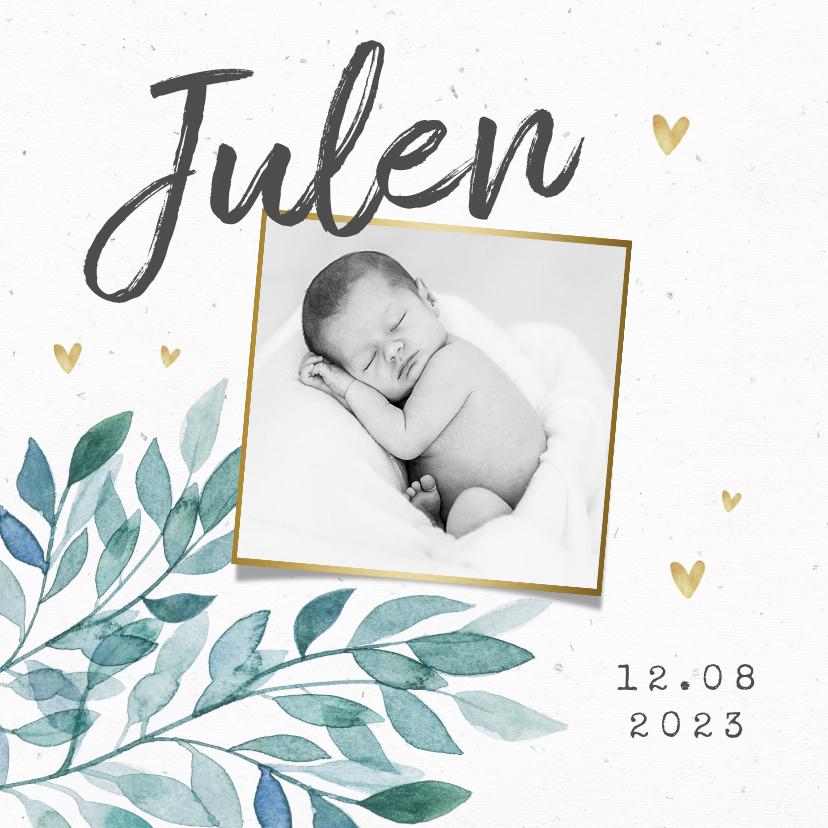 Geboortekaartjes - Geboortekaartje unisex bladeren hartjes goud foto