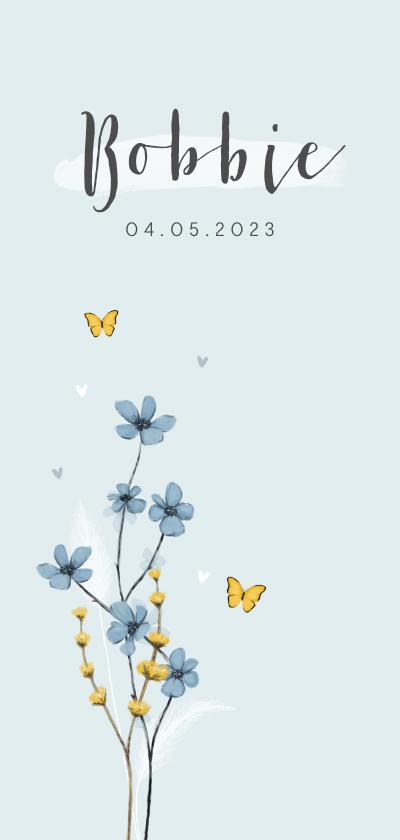 Geboortekaartjes - Geboortekaartje unisex bloemen lief hartjes bloemen vlinder