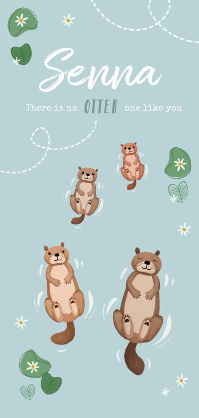 Geboortekaartjes - Geboortekaartje unisex dieren otters illustratie