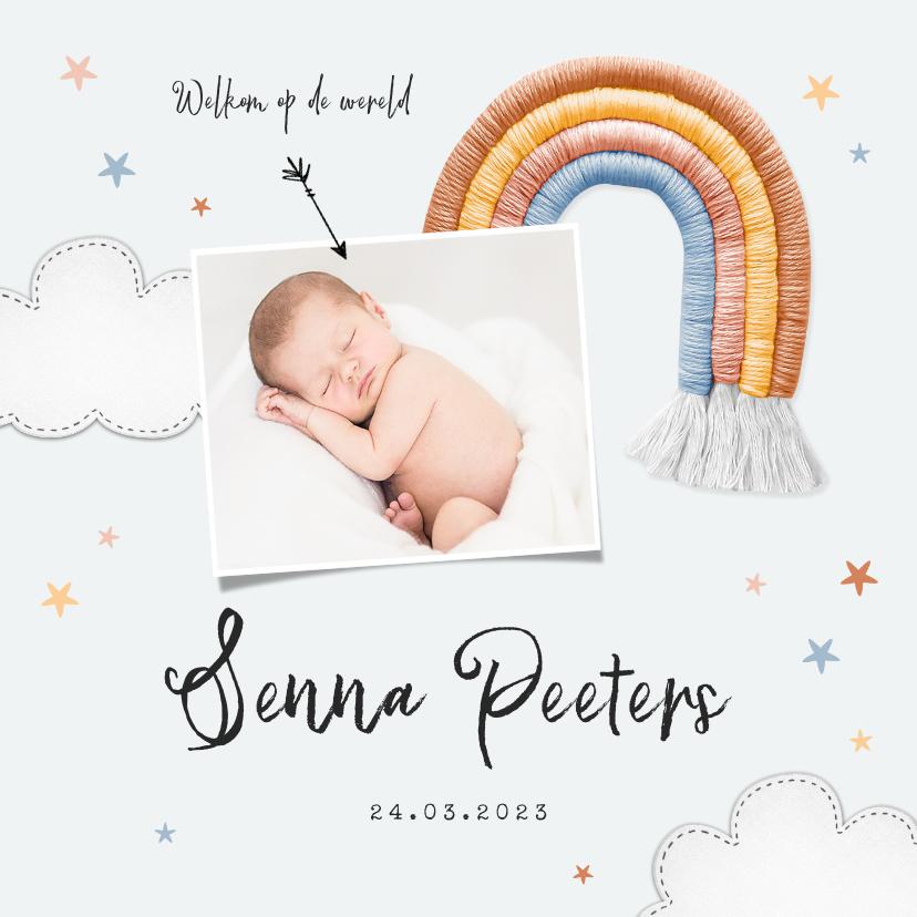 Geboortekaartjes - Geboortekaartje unisex regenboog stof sterren wolken foto
