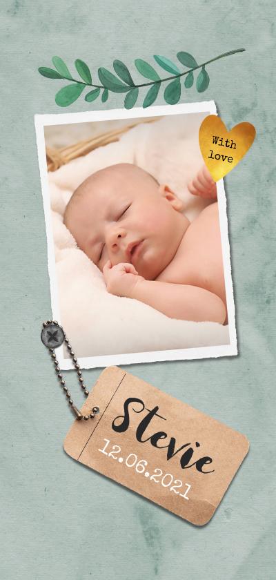 Geboortekaartjes - Geboortekaartje unisex stoer met label en gouden hartje