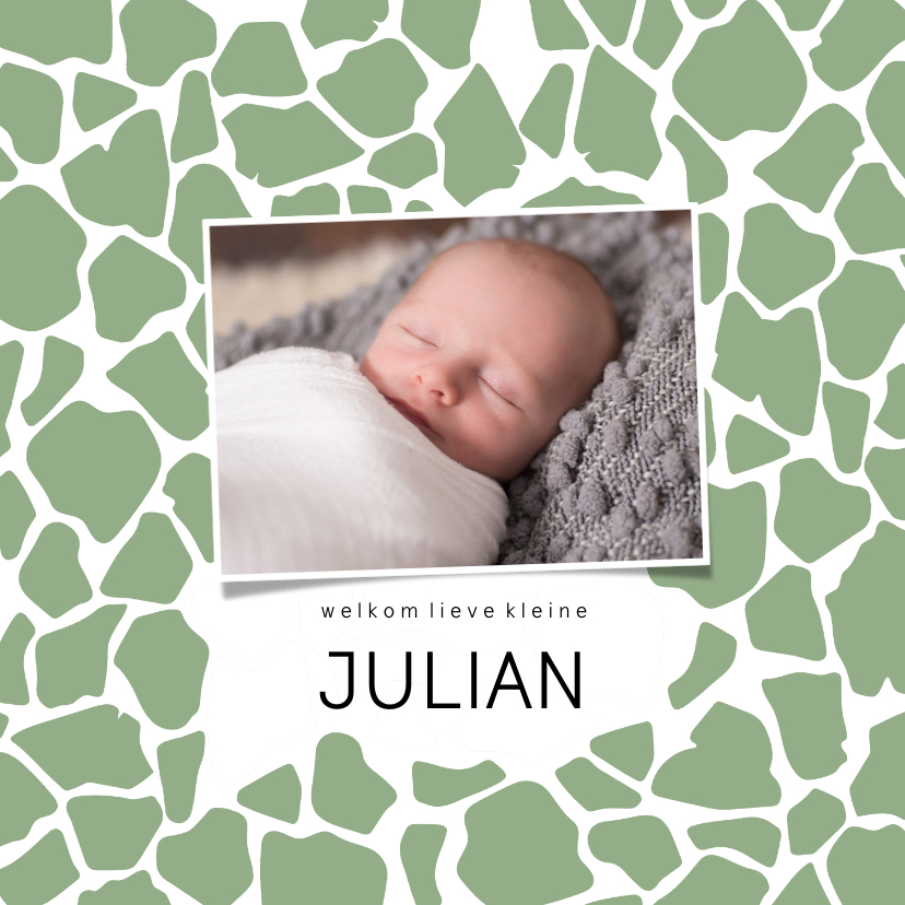 Geboortekaartjes - Geboortekaartje vierkant girafprint foto