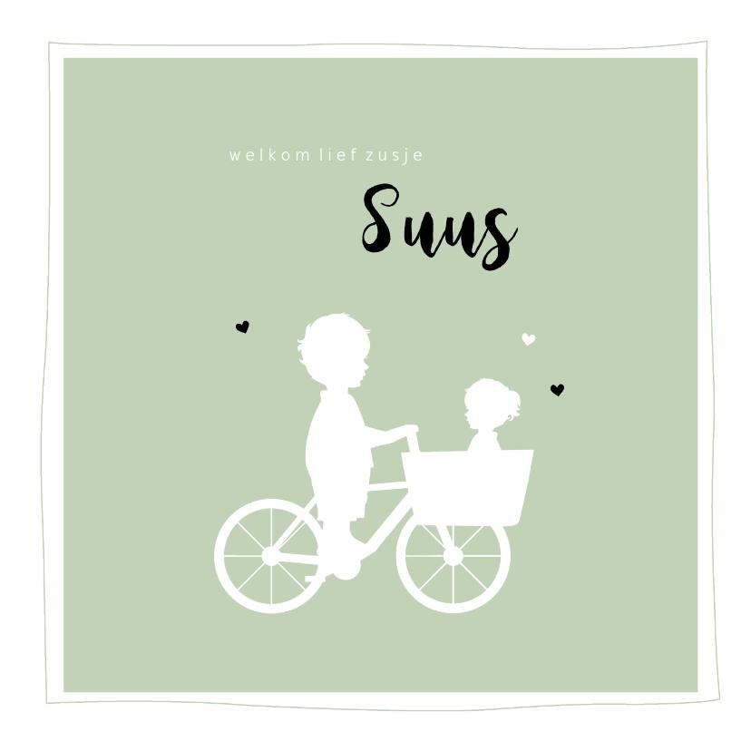 Geboortekaartjes - Geboortekaartje vierkant silhouet bakfiets broer met zusje