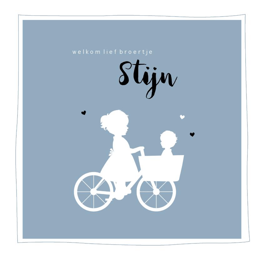 Geboortekaartjes - Geboortekaartje vierkant silhouet bakfiets zus met broertje