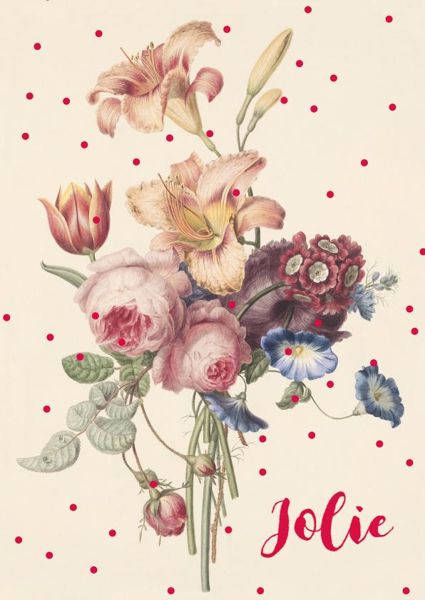 Geboortekaartjes - Geboortekaartje vintage bloemen in pastelkleur met stippen