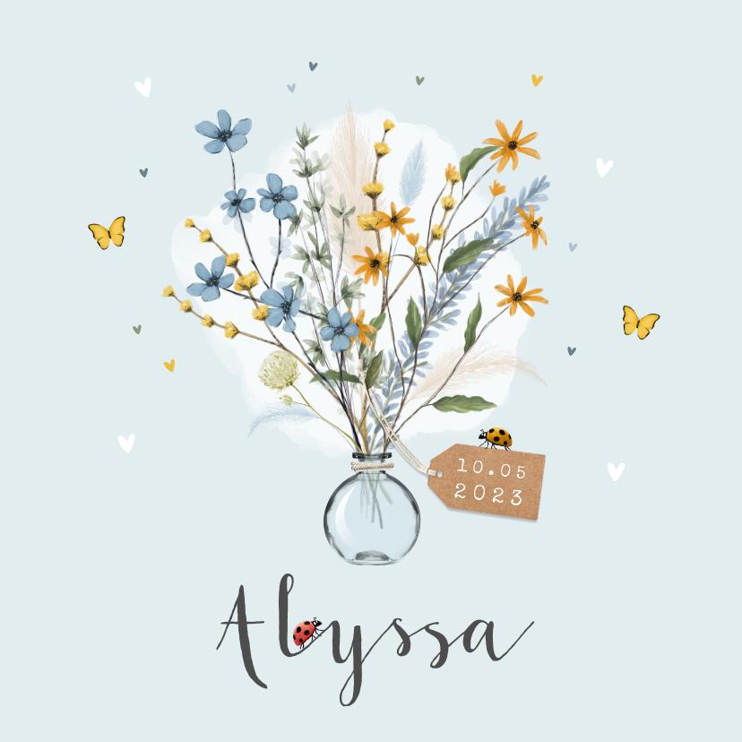 Geboortekaartjes - Geboortekaartje vlinder bloemen lief hartjes label