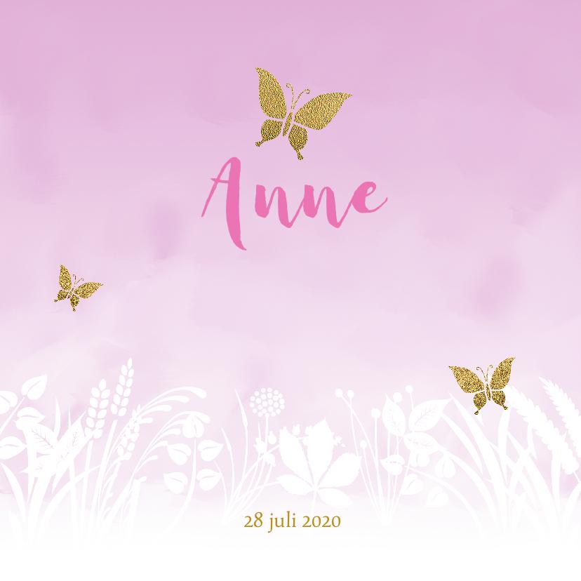 Geboortekaartjes - Geboortekaartje vlinder met gewassen achtergrond voor meisje