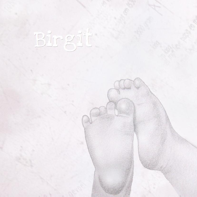 Geboortekaartjes - Geboortekaartje voetjes Meisje